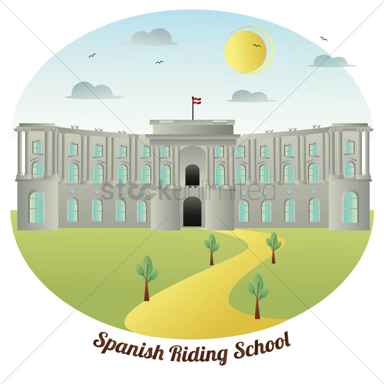 Spanish riding school Vector Image.