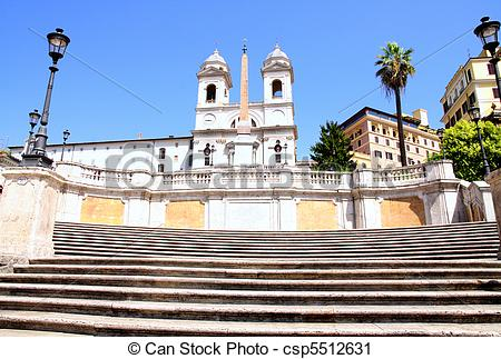 Stock Photography of Spanish Steps in Rome Italy.