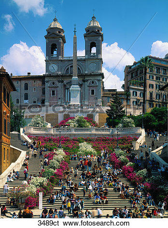 Stock Images of Italy, Rome, people sitting on the Spanish Steps.