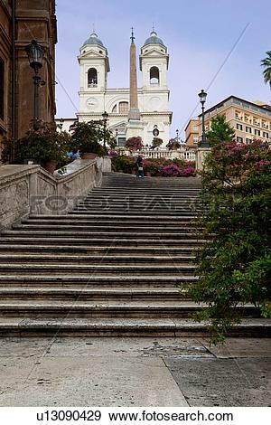 Stock Photograph of Spanish steps, nobody on stairs, summer.