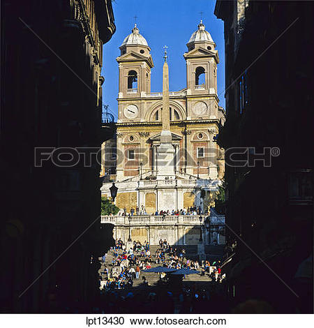 Stock Photography of Spanish steps and Santissima Trinita dei.