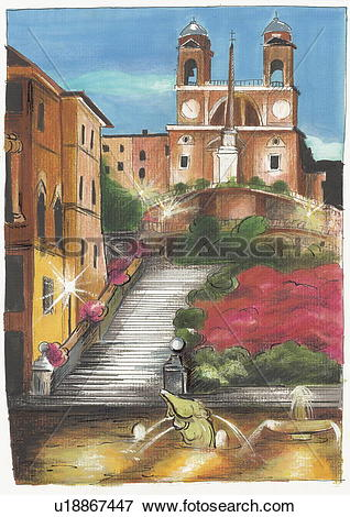 Stock Illustration of Rome's Spanish Steps lit at night with the.