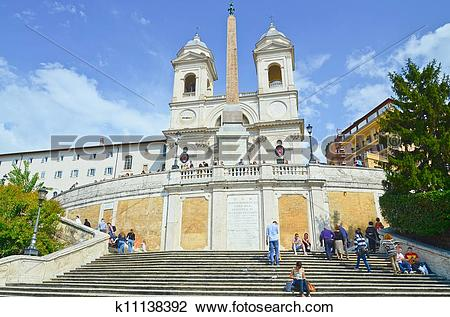 Stock Photo of The Spanish Steps, seen from Piazza di Spagna.
