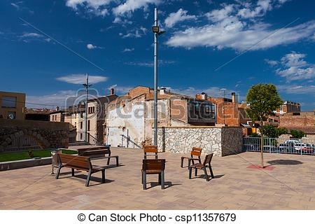 Picture of Resting benches on the square in Spanish village.