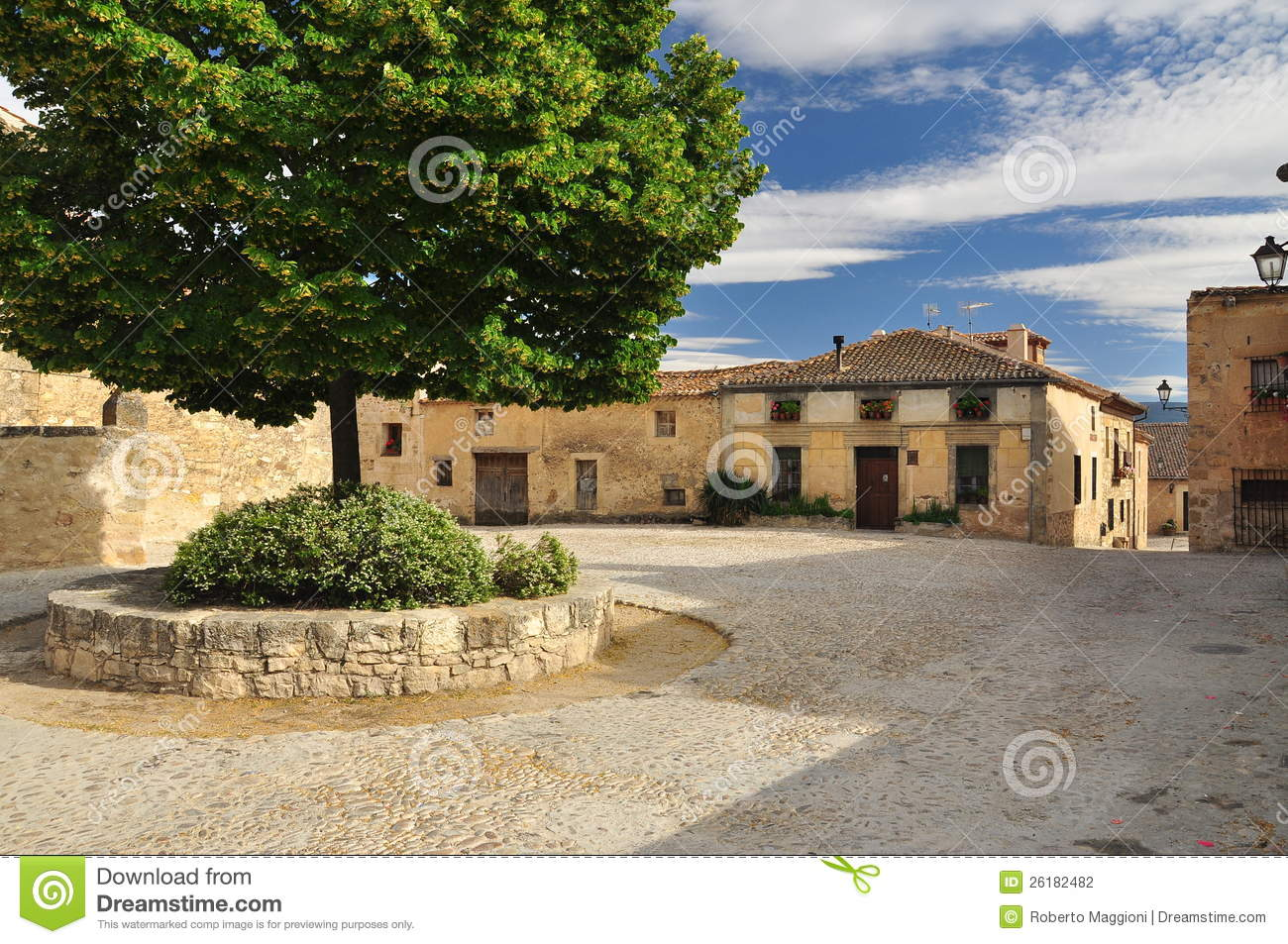 Pedraza, Castile, Spain. Village Square Stock Photography.