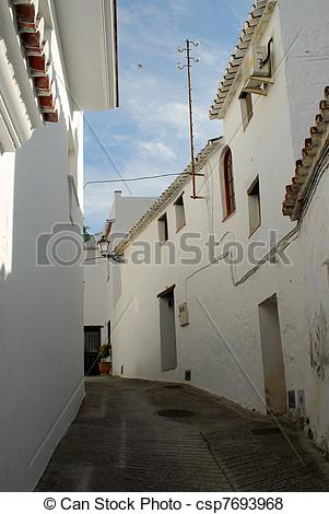 Pictures of Spanish village at midday.