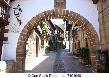 Stock Image of Poble Espanyol, Spanish village in Barcelona, Spain.