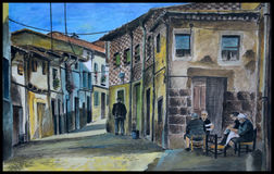 Old Houses In Spanish Village, Illustration, Painting Stock.