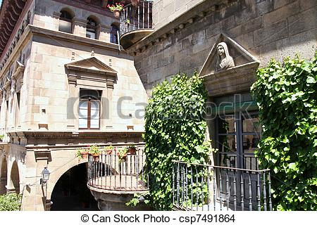Stock Photo of Poble Espanyol, Spanish village in Barcelona, Spain.