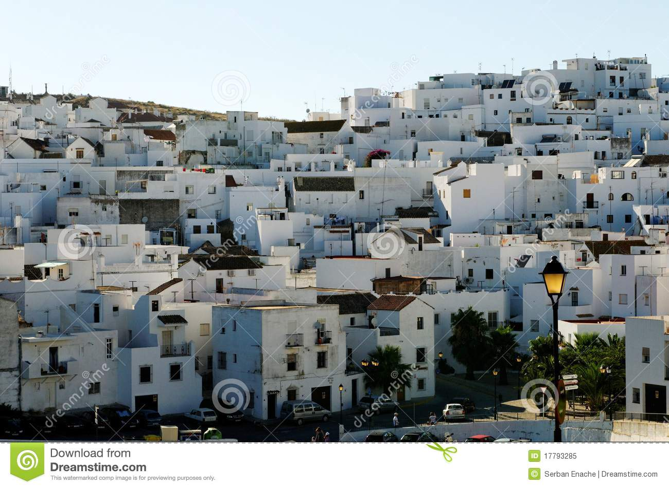 Whitewashed Spanish Village Stock Photo.