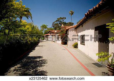 Stock Photo of Street running along ethnic buildings, Spanish.