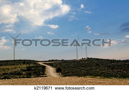 Stock Photography of Wind turbines in a spanish landscape k2119671.