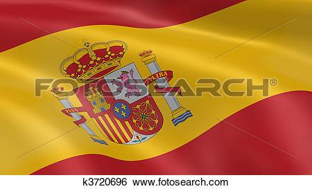 Stock Illustration of Spanish flag in the wind k3720696.