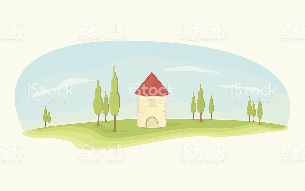 Spanish House With Cypress Trees stock vector art 511618757.