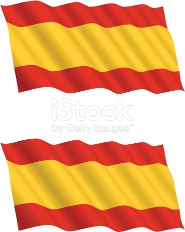 Spanish Flag Flying In The Wind stock vector art 97097567.