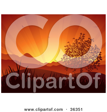Clipart Illustration of a Bursts Of Light Spanning In An Orange.