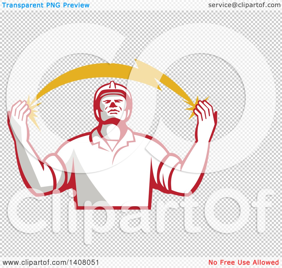 Clipart of a Retro Male Electrician Looking up and Holding a.