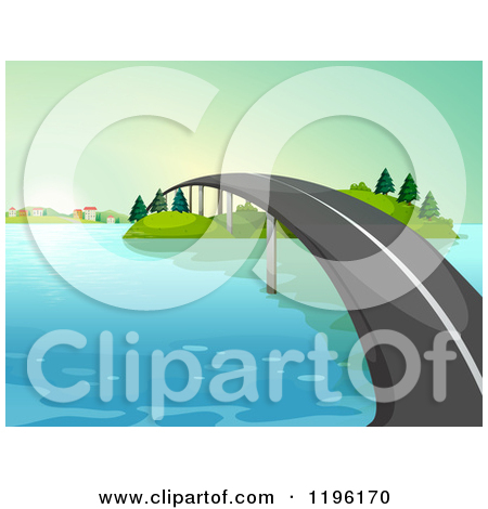 Cartoon of a Raised Road Spanning Water.