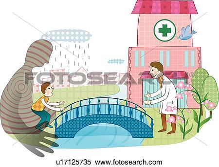 Stock Illustration of Spanning The Bridge To Health u17125735.