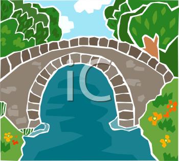 Royalty Free Clip Art Image: Stone Arch Bridge Spanning a Stream.