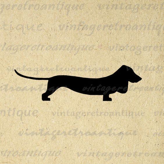 Wiener Dog Digital Image Graphic Dachshund Wiener Dog Silhouette.