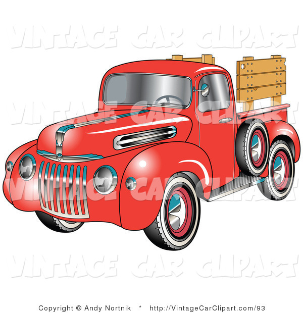Clipart of a Red 1945 Ford Pickup Truck with a Spare Tire on the.