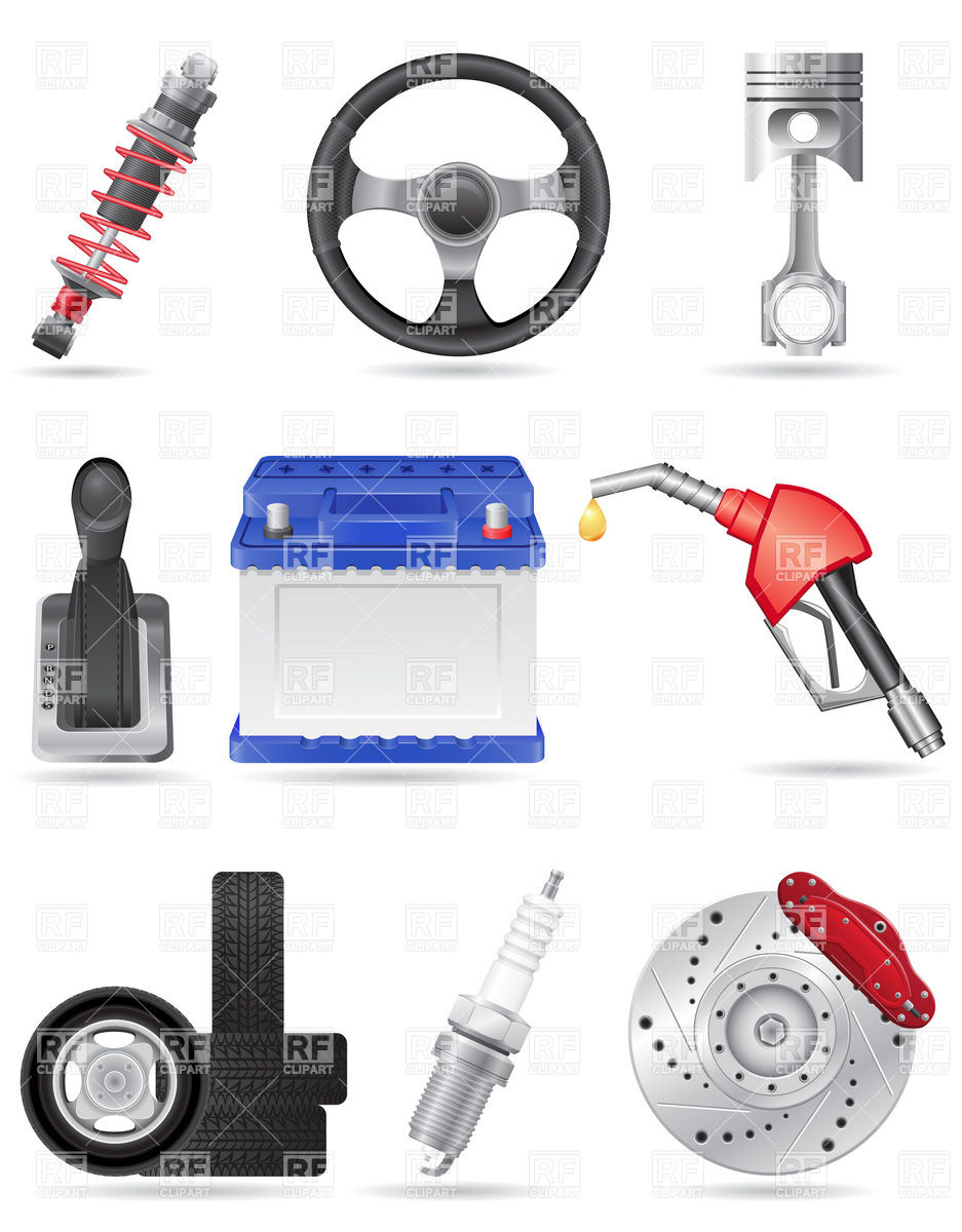 Car parts and spares icons Vector Image #19754.