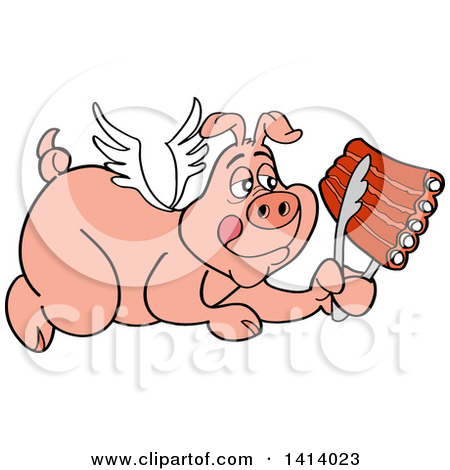 Clipart of a Cartoon Bbq Winged Angel Pig Flying and Holding Spare.
