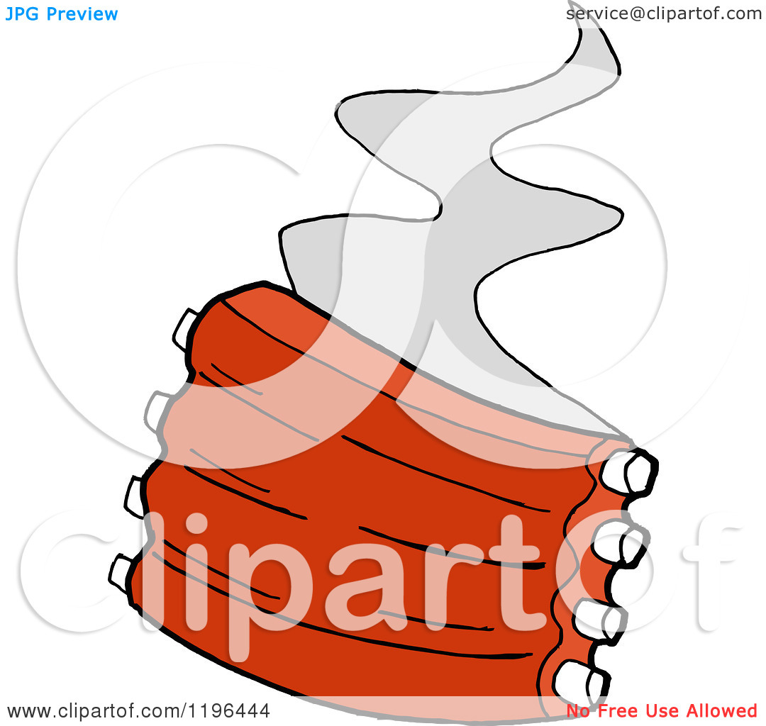 Clipart of Steam Rising from Spare Ribs.