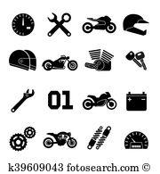 Motorbike spares Clip Art Vector Graphics. 40 motorbike spares EPS.