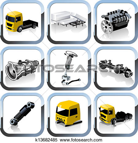 Clipart of truck spares icons set k13682485.