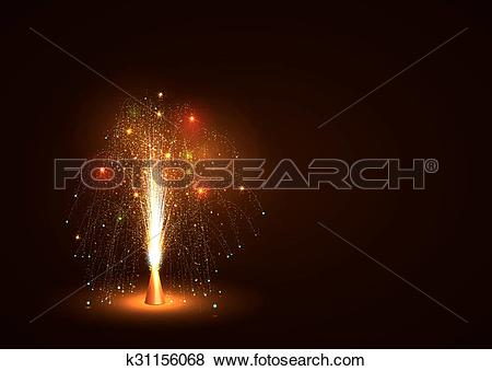 Clip Art of Colorful Volcano Fountain Emitting Sparks.