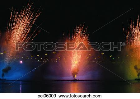 Stock Photograph of neon, night, flame, blaze, spark, fireworks.