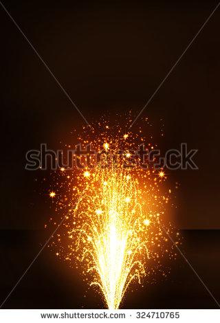 Golden Fountain Firework Volcano Emitting Sparks Stock.