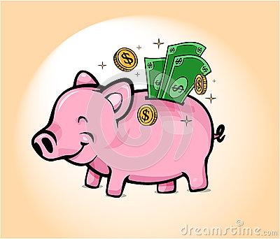 Piggy Bank Savings Cartoon Stock Vector.