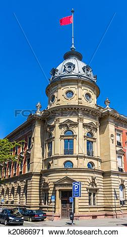 Stock Photography of Sparkasse Konstanz building, Germany, Baden.