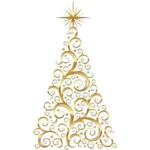 Transparent Gold Deco Christmas Tree Clipart.