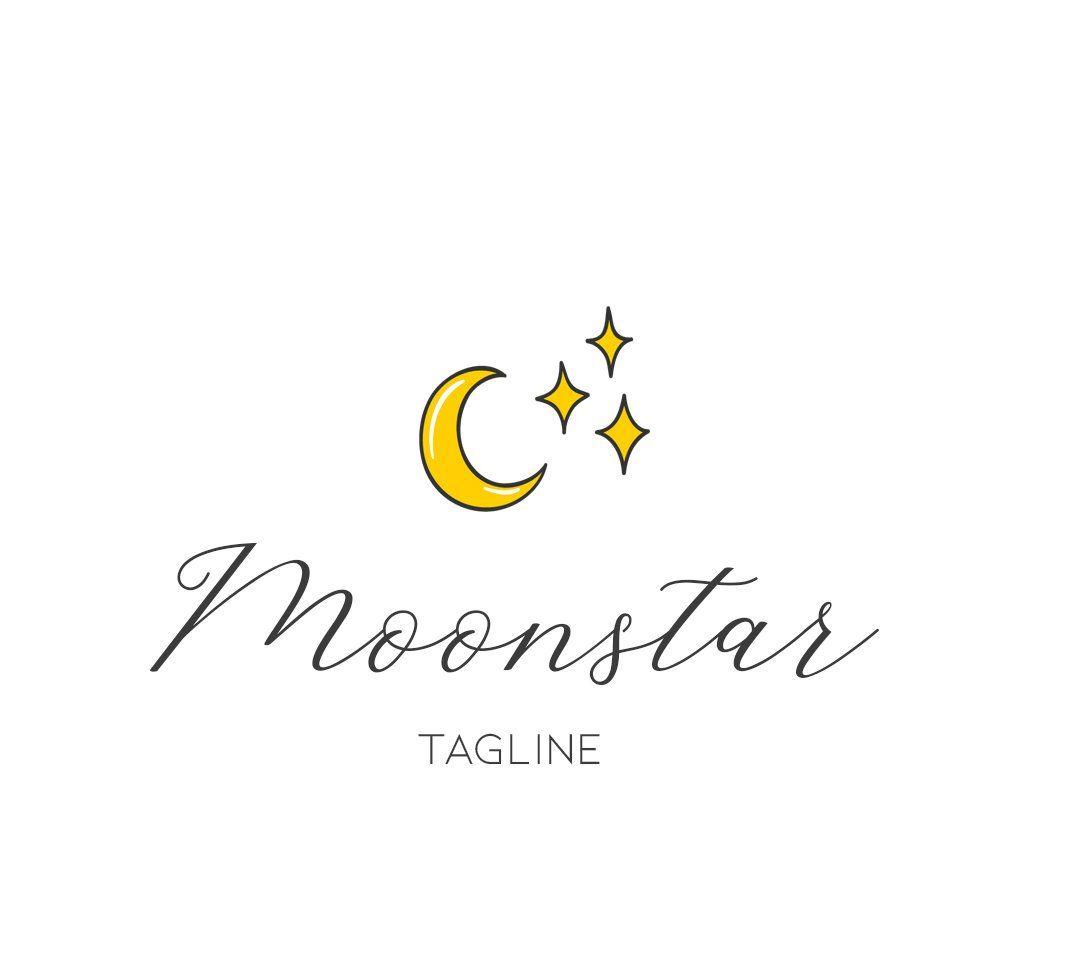 Star logo, moon logo, sparkle logo, cartoon logo, unique.