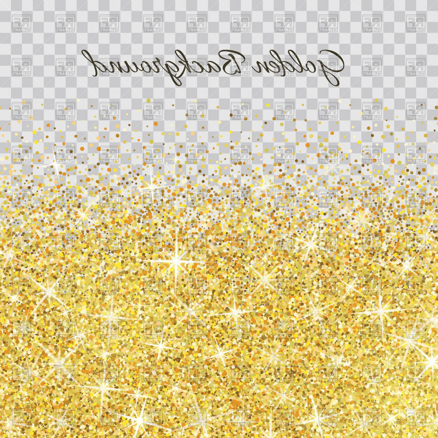 Gold Glitter Texture On Transparent Background Vector.