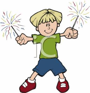 Clipart Illustration of a Child Holding Sparklers.