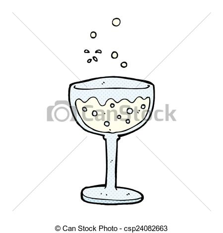Clip Art Vector of comic cartoon sparkling wine.