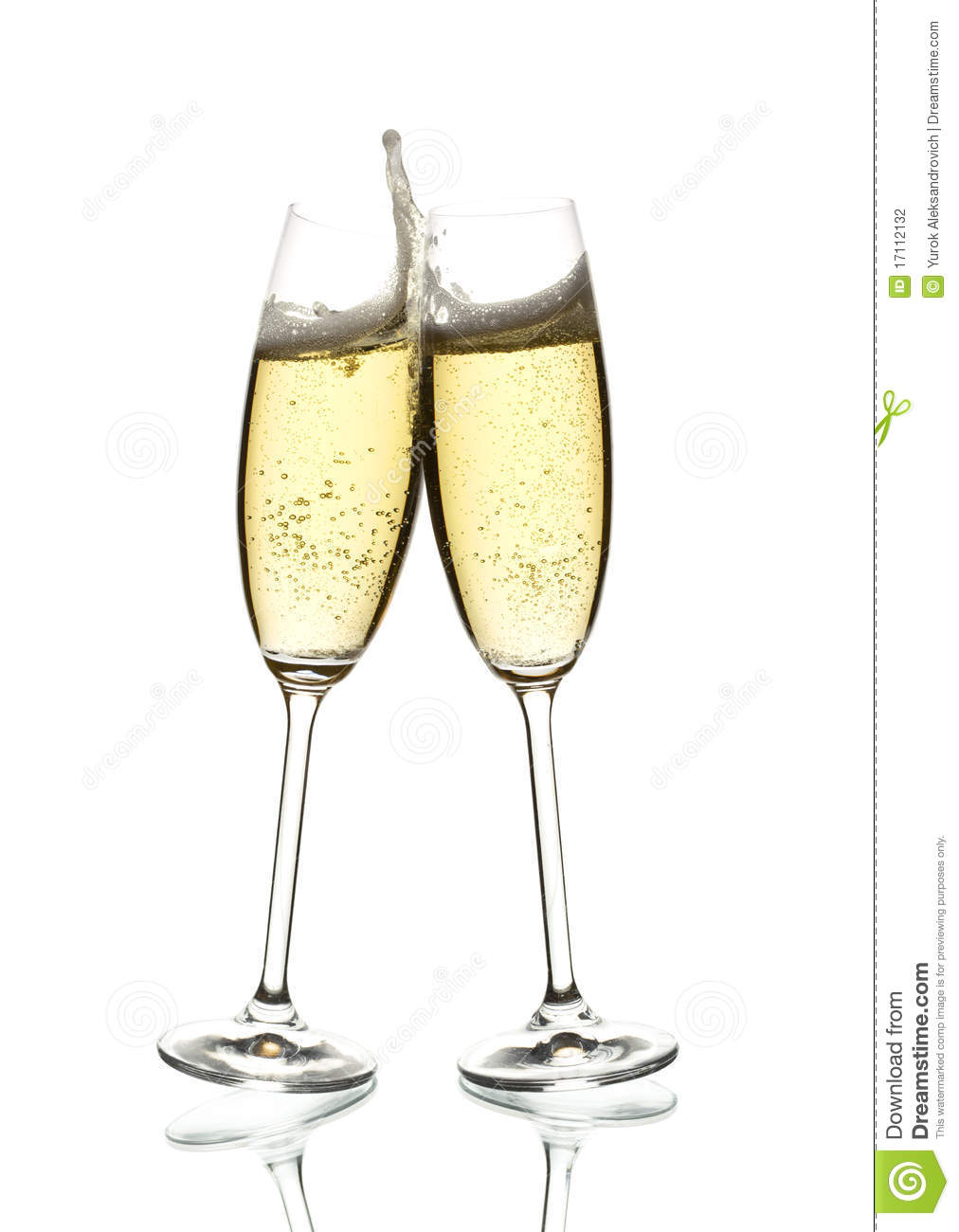 Two Glasses Of Sparkling Wine Clinking Stock Photography.