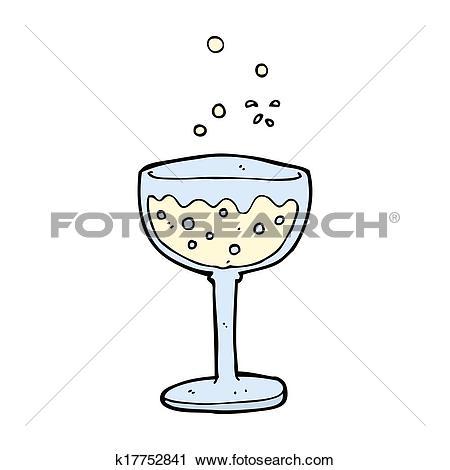 Clipart of cartoon sparkling wine k17752841.