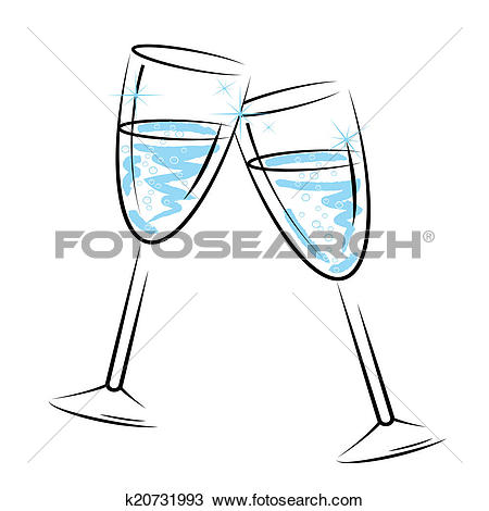 Drawing of Champagne Glasses Means Sparkling Wine And Celebration.