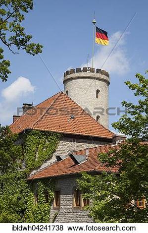 Pictures of Sparrenburg or Sparrenberg Castle with waving flag.