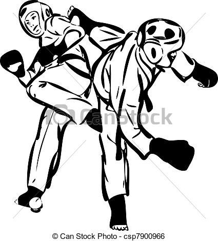 Karate Sparring Clip Art.