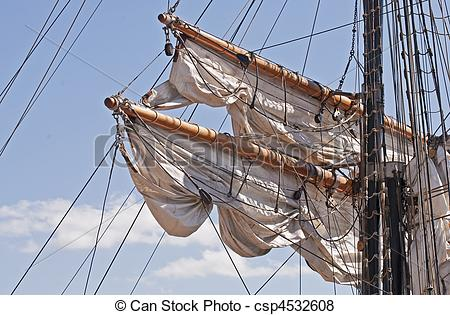 Pictures of Spars with rigging of a windjammer.