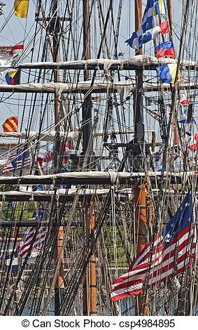 Stock Images of Lines, spars and masts of a square rigger in the.