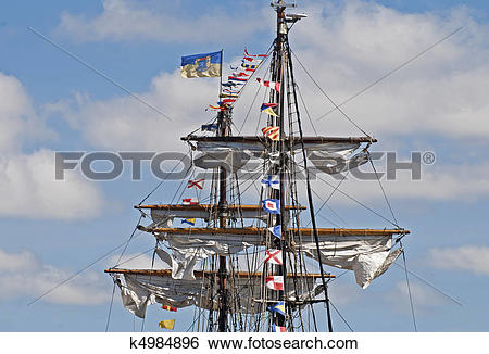 Stock Images of Masts and spars of a windjammer k4984896.