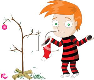 Sad Red Headed Cartoon Boy with a Sparse Christmas Tree and an.